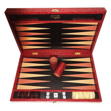 Backgammon set Deluxe L Genuine Leather in Red
