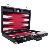 Backgammon Set XL Wycliffe Brothers Masters Black Linen-leather Case Red Field