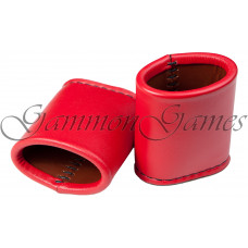 Backgammon Leather Dice Cups Oval in Red (0688)