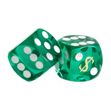 Backgammon Precision Dice Las Vegas in Green 14 mm