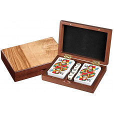 Set of Playing Cards & Dice in wooden box