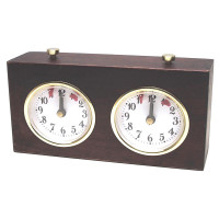 BHB Chess clock mechanical wooden case in brown