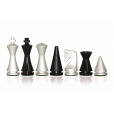 Modern Chess Pieces Glossy Silver KH 75 mm (1501B)